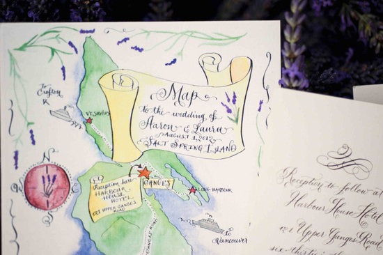 Lavender adorned custom wedding maps