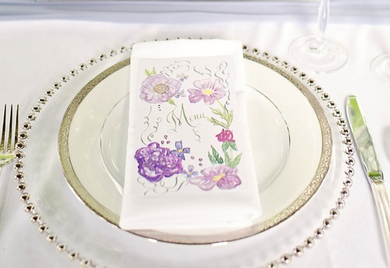 Handpainted wedding menus