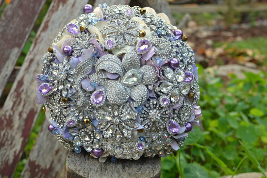 Lavender and silver brooch bridal bouquet