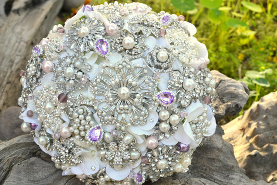 Ivory pearl silver lavender wedding bouquet alternative