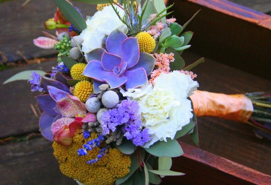 Purple succulent wedding bouquet