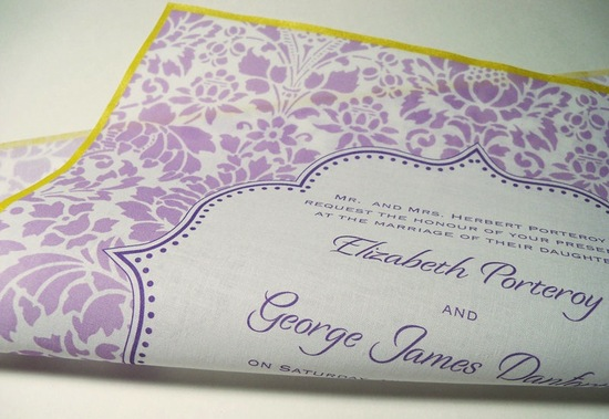 Lavender ivory marigold hankie wedding invitation