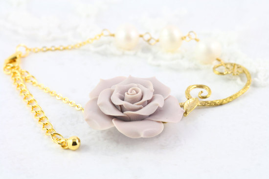 Gold and lavender rose bridal bracelet