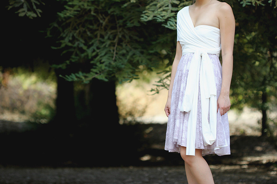 Lavender And White Wrap Bridesmaid Dress