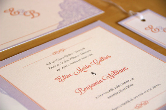 Lavender orange ivory square wedding invitation