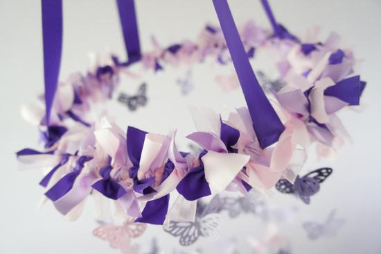 Lavender wedding chandelier ribbons and butterflies