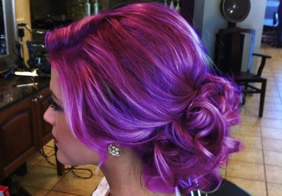 Offbeat wedding hair lavender updo