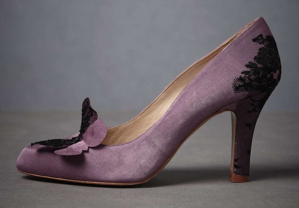 Lavender and black lace wedding shoes