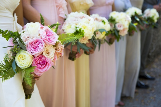 Mix and match bridesmaids in pastels