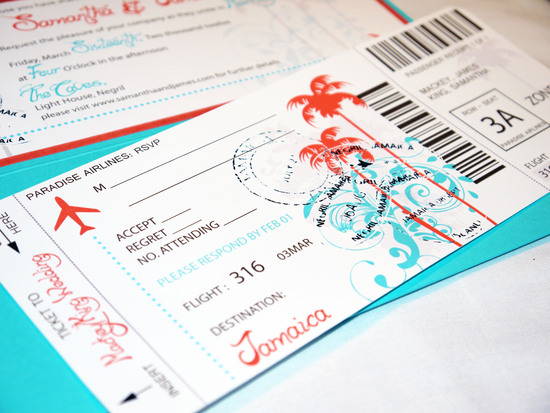 teal aqua orange destination boarding pass ticket pocketfold invitation c