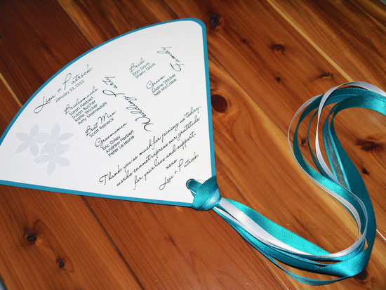 teal and white floral wedding program fan