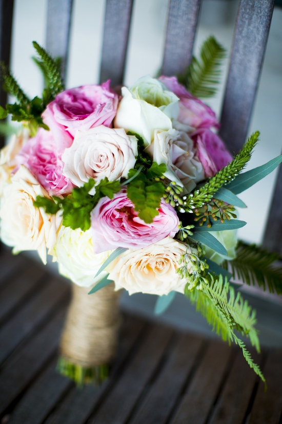 Florida wedding romantic pink ivory bouquet