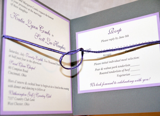 lavender gray purple ivory tie the knot invitation