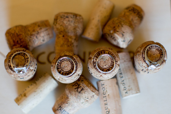 wedding bands photographed on champagne corks