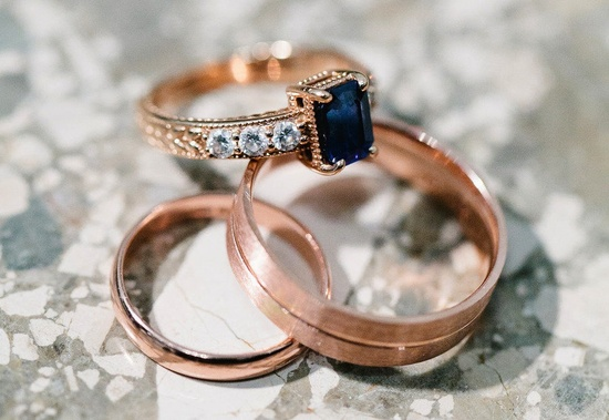 Sapphire engagement ring rose gold setting