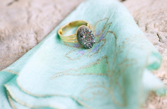 Unique vintage engagement ring aqua hankie