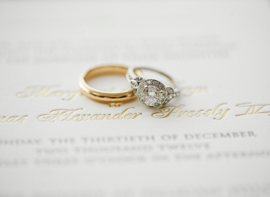 Platinum and gold engagement wedding band shot