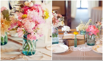 photo of romantic wedding centerpieces pink peonies mason jars