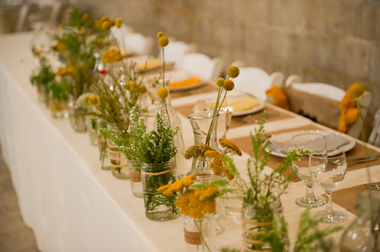 barn wedding rustic floral centerpieces
