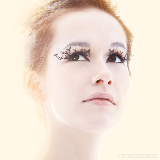 photo of Whimsical bridal beauty details butterfly lashes