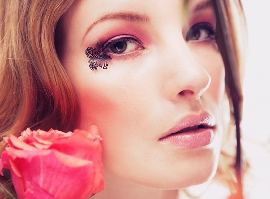 photo of Blooming roses paperself false lashes romantic bridal beauty