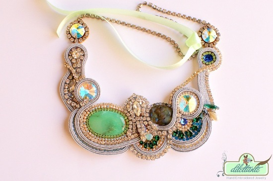 statement wedding necklace one of a kind gold green blue