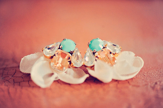 Something blue turquoise peach wedding earrings