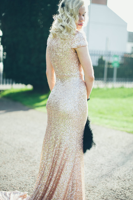 Gold pailettes wedding dress with cap sleeves