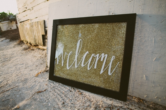 Sparkly welcome wedding sign