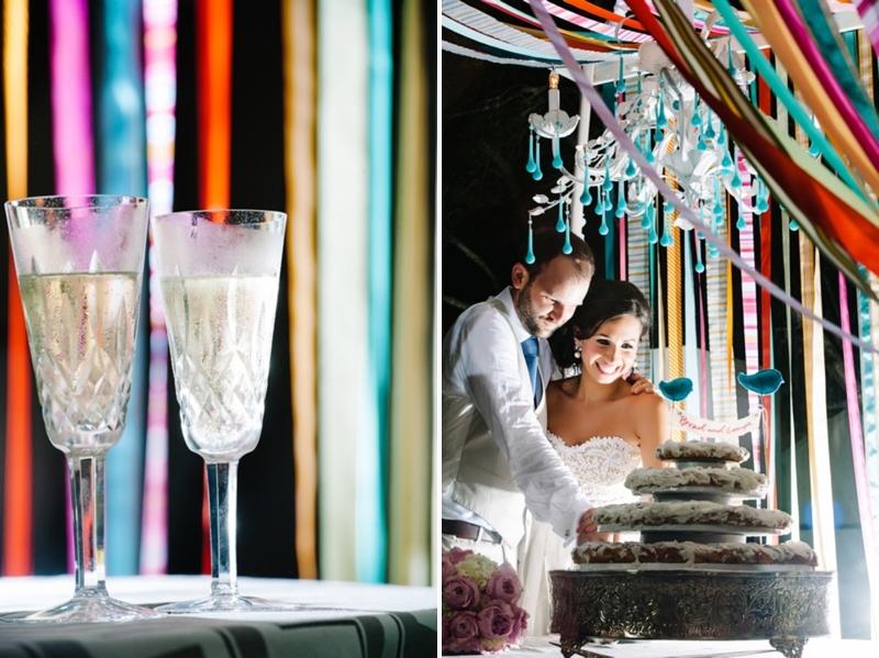 Colorful-diy-wedding-cake-cutting-at-reception.full
