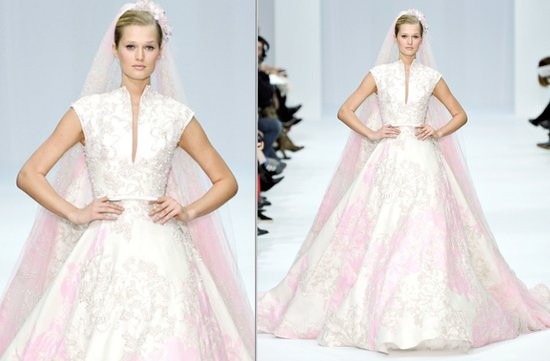 2012 elie saab couture wedding dress light pink beaded sleeves