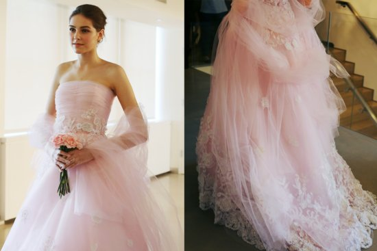 Light pink oscar de la renta wedding dress