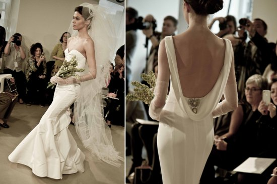 Open back Oscar de la Renta wedding dress