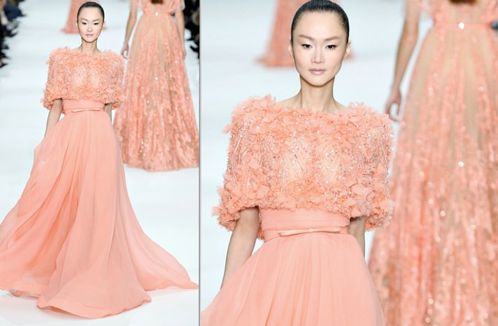2012 couture spring elie saab peach bridesmaid dress inspiration