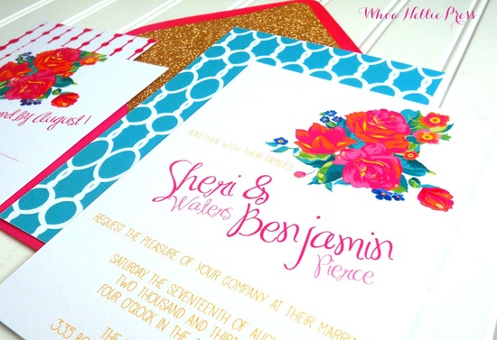 Bright retro floral wedding invitations