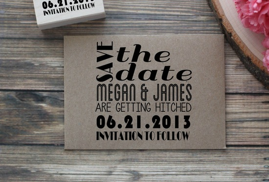 retro kraft paper wedding save the date