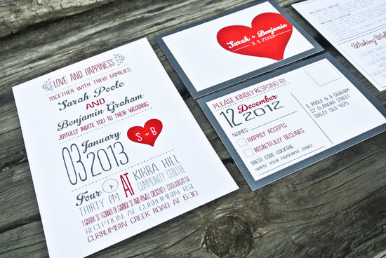 Retro rustic heart wedding invitations