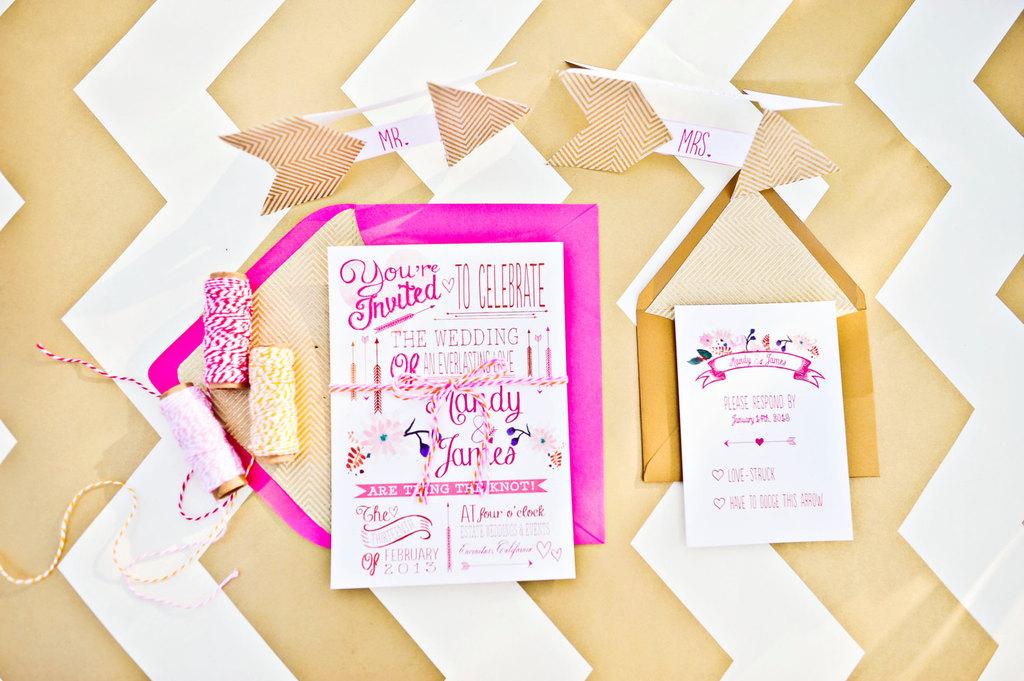 watercolor wedding invitations hot pink gold
