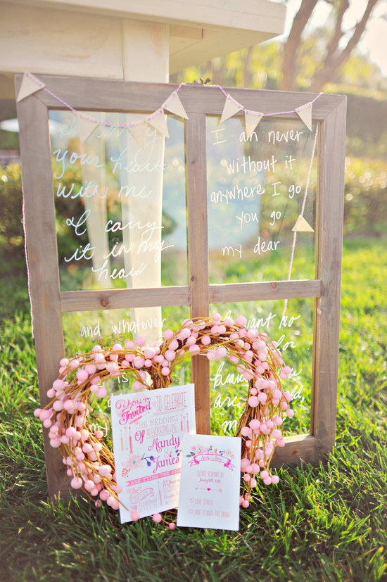 Unique wedding decor vintage door signed
