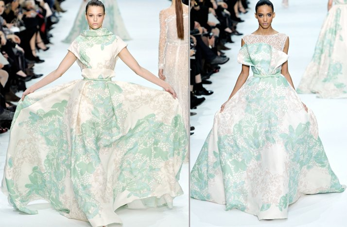 2012 couture elie saab printed wedding dresses