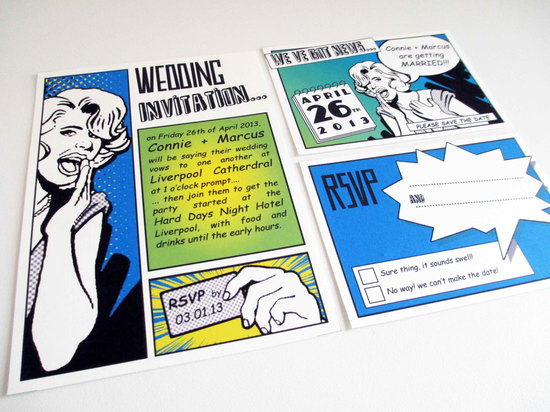 Retro comics wedding invitation suite