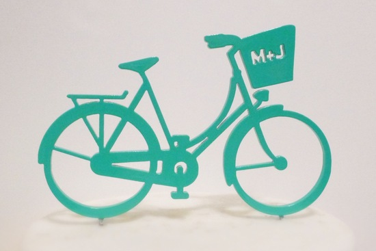 Retro monogram bike wedding cake topper