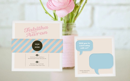 Pastel retro wedding invitations