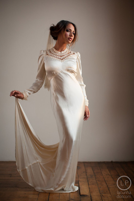 Old hollywood glam wedding dress with sleeves