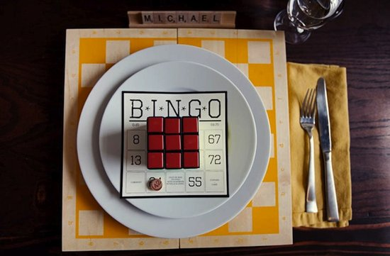 bingo themed wedding reception place setting