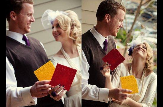 photo of bingo themed wedding reception menu cards