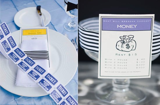 themed wedding ideas monopoly blue yellow tablescape