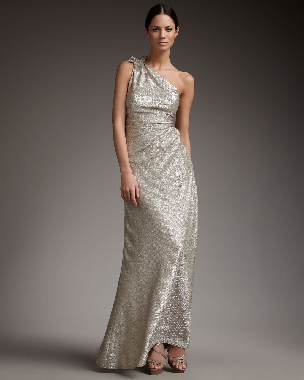 653955cefa2 Metallic wedding guest dresses one shoulder long champagne silver