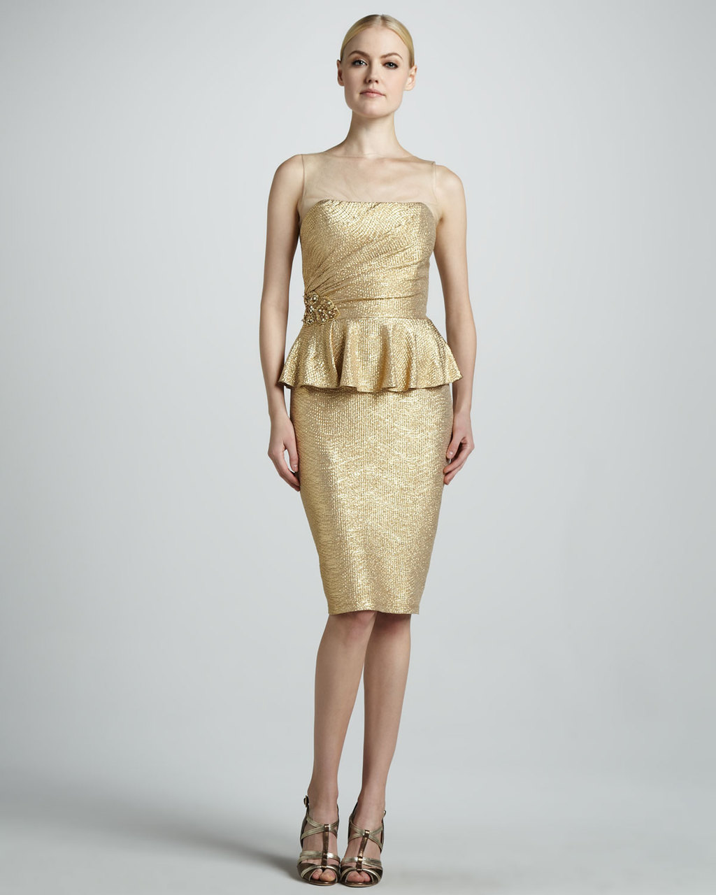 Metallic wedding guest dresses gold cocktail with illusion for Neiman marcus wedding guest dresses
