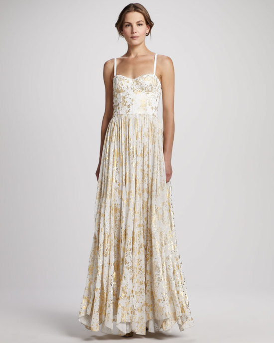 Metallic wedding guest dresses gold cream Alice and Olivia